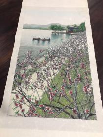 丝织画:西湖平湖秋月   立轴