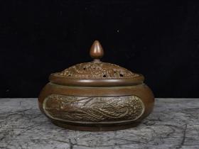珍藏紫銅龍鳳呈祥熏爐一個  高7cm   口徑8cm,重約700克