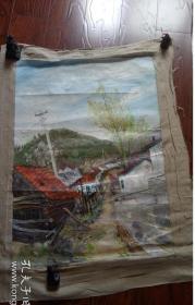 布面油画一大幅 【乡村风光3】长110厘米*96厘米,年代不详