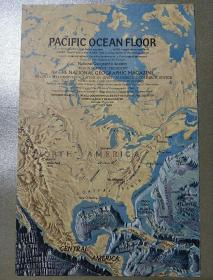 National Geographic国家地理杂志地图系列之1969年10月 Pacific Ocean 太平洋海底地形图