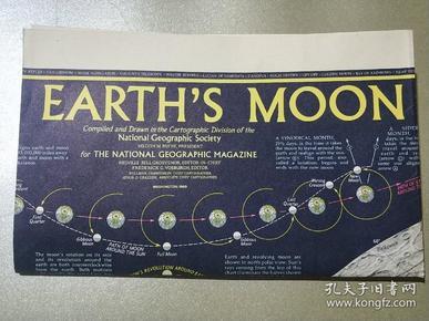 National Geographic國家地理雜志地圖系列之1969年2月 The Earths Moon 月球地圖