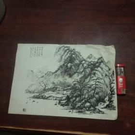 南通书画名家顾梦吾在绘画印刷品上毛笔字并钤印(1)