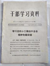 干部学习资料(1989年第17-19期合刊)--学习党的十三届四中全会精神专题讲座.16开;