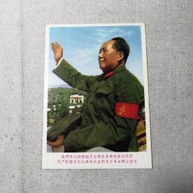 我们伟大的领袖毛主席在首都向参加庆祝无产阶级文化大革命大会的百万群众招手 宣传画 (10厘米X14厘米)