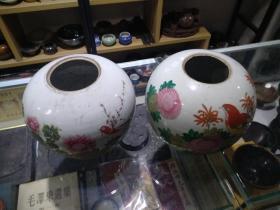 花鸟罐子两个