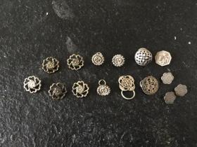 老银扣子 图案稀少 15枚合售