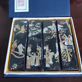 徽墨老胡开文制祝寿图,全烟,古法一两30克,4条一套。