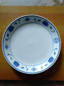 圆形大瓷盘1个:中国群力·双凤·强化·人民大会堂·中国结·青花·蓝双凤标识 盘面直径28.5厘米*高4厘米【非常漂亮、非常大气】