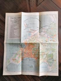 少见《青岛老地图》(Tsingtau)尺寸28X24厘米