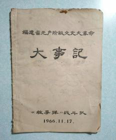福建省无产阶级文化大革命大事记  16开油印本
