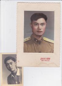55式  上尉军官手工上色照片 一张 带卡纸,附其便装像一张