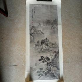 宋文治早期,绢本仿古山水(烟江闲步图)原装旧裱镜片。