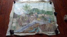 布面油画一大幅 :乡村风光 长110厘米*96厘米,年代不详【油画7】