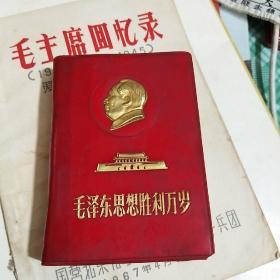毛主席思想胜利万岁(红塑料皮 凸金吕制版)1969北京