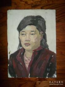 八十年代的老油畫,帶簽名(飛云)的油畫《人物婦女》