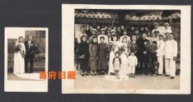 民国老照片,有很多军官参加的结婚典礼合影老照片等两张合售