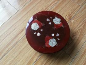 回流日本漆器盒子  镶嵌贝壳