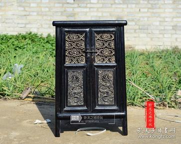 --【【【【珍玩】】】---老紫檀 文房小柜 斗桌   雕刻精美 满工镂雕  木质坚实细腻  包浆老道