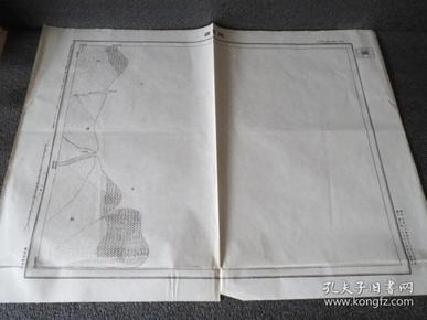 民国地图  1505 山东省  利津县  陡崖头  中华民国元前三年测量 三十六年制 国防测量局 58*45厘米