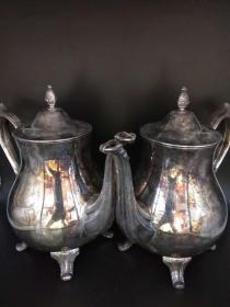 西洋 欧洲古董 餐具 茶具 镀银 茶壶 咖啡壶 一对 I.S. Co.可以分开出售