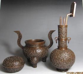 纯紫铜 炉瓶三事 宣德炉 香炉 香道用品