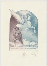 Olaf Gropp签名·套色铜版藏书票原作之四(尺寸21×14.6厘米·单页1张·限定60之48·德国版画家)