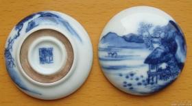 清雍正青花山水纹印盒.青花分五色,宁静而高雅