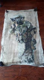 布面油画一大幅 :反恐精英  长140厘米*90厘米,年代不详【油画12】