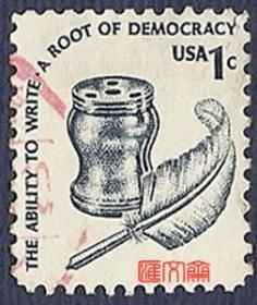 外国邮票-美国早期-【鹅毛笔、墨盒图】1美元普通邮票,好信销邮票