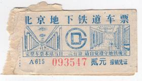 地铁车票类-----1980年代北京市地下铁道车票
