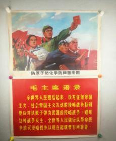 文革宣传画《防原子防化学防细菌挂图》一组30幅全 约75*53厘米,多毛主席语录 文革气息浓厚!
