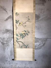 旧藏 珍品名人花鸟字画,花鸟灵动逼真,画工精细,保存完整,书房客厅陈列,尺寸167*52厘米,全品