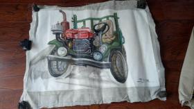 布面油画一大幅 :拖拉机   长100厘米*85厘米,年代不详【油画14】