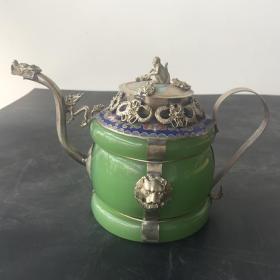 GZ1087古玩杂项收藏白铜瓷壶仿古酒壶龙嘴壶实物拍摄