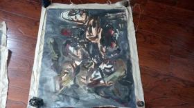 布面油画一大幅 :抽象画   长105厘米*90厘米,年代不详【油画15】