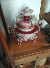 早期藏品钧瓷窑变双耳三足大香炉,大件。