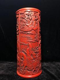 剔红漆器精浮雕八仙过海笔筒摆件 漆器大笔筒