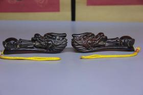 旧藏 牛角龙戏珠如意把件,尺寸13.5*3.5*4.5厘米,细节图如下