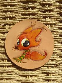 皮雕杯垫(小狐狸)