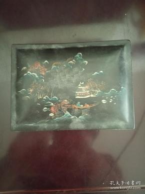 几十年福州描金山水图案漆小盒