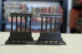 书立一对 templs of saturn《罗马萨图尔诺农神庙》 美国大约 20世纪 20~30 年代精工铸造 漂亮的书房摆件