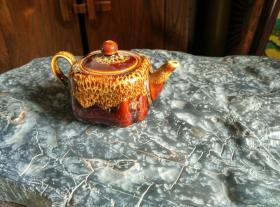 钧瓷窑变红四方壶