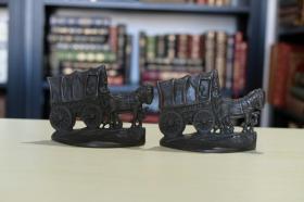 书立一对《马车》造型 1930年 美国精工铸造 书房摆件 收藏精品
