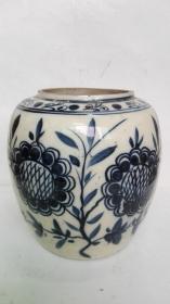 民国;耀州窑系青花花卉---瓷罐