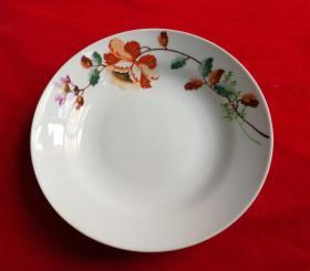 特价五六十年代手绘五彩花卉图大盘子看盘包老全品景德镇底款