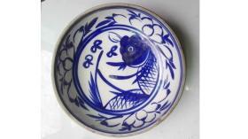 民国晚期--解放初期;耀州窑系青花花卉---大鱼盘