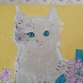 八十年代南京手绢厂画稿《猫》图