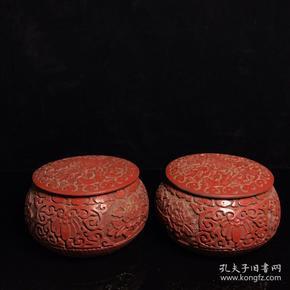 漆器围棋罐一对胎径13 高7.5 厘米一对重 1040克