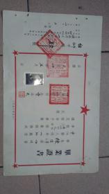 1954年,四川三台师范校毕业证,带存根,中江县人