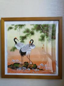 八十年代南京手绢厂画稿《松鹤延年》图一对